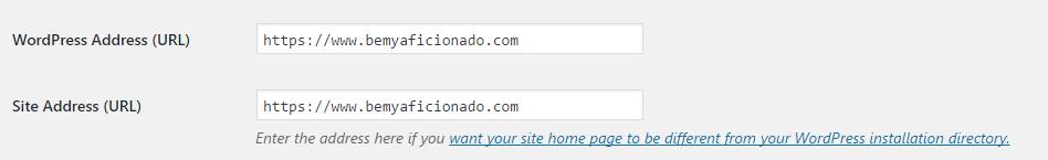 Wordpress Site address settings