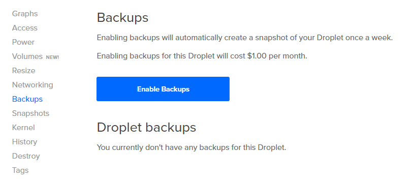 digitalocean Backup