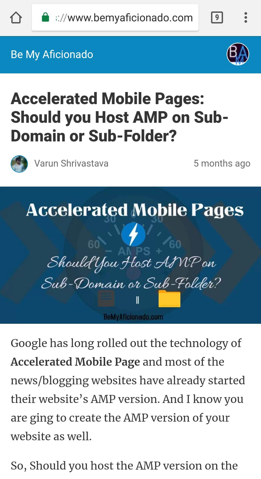 AMP enabled Website Screenshot