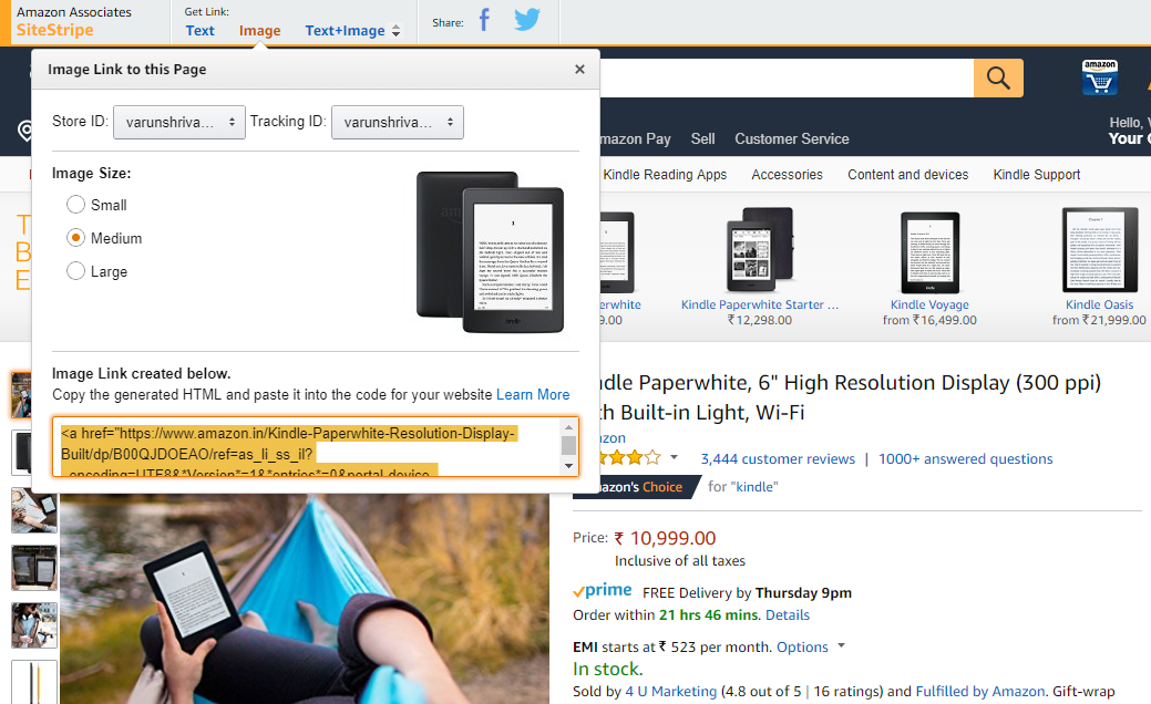Amazon generate product affiliate link with image