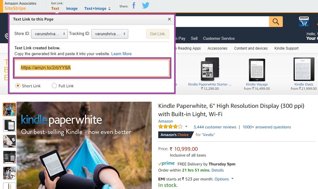Amazon generate product affiliate link