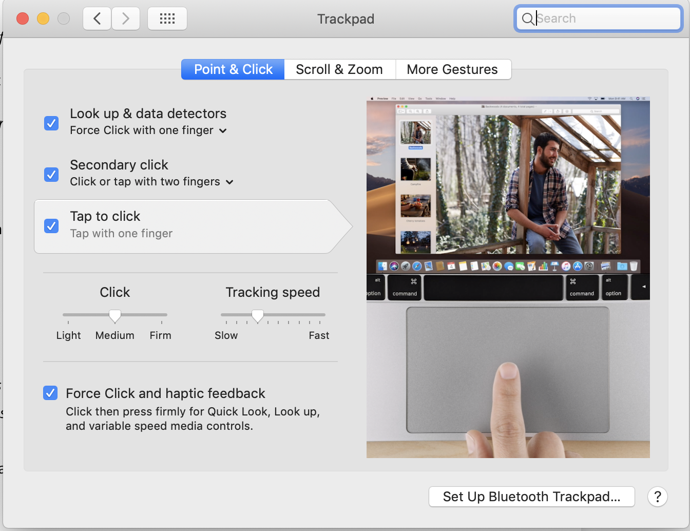 Configure Trackpad: Tap to Click