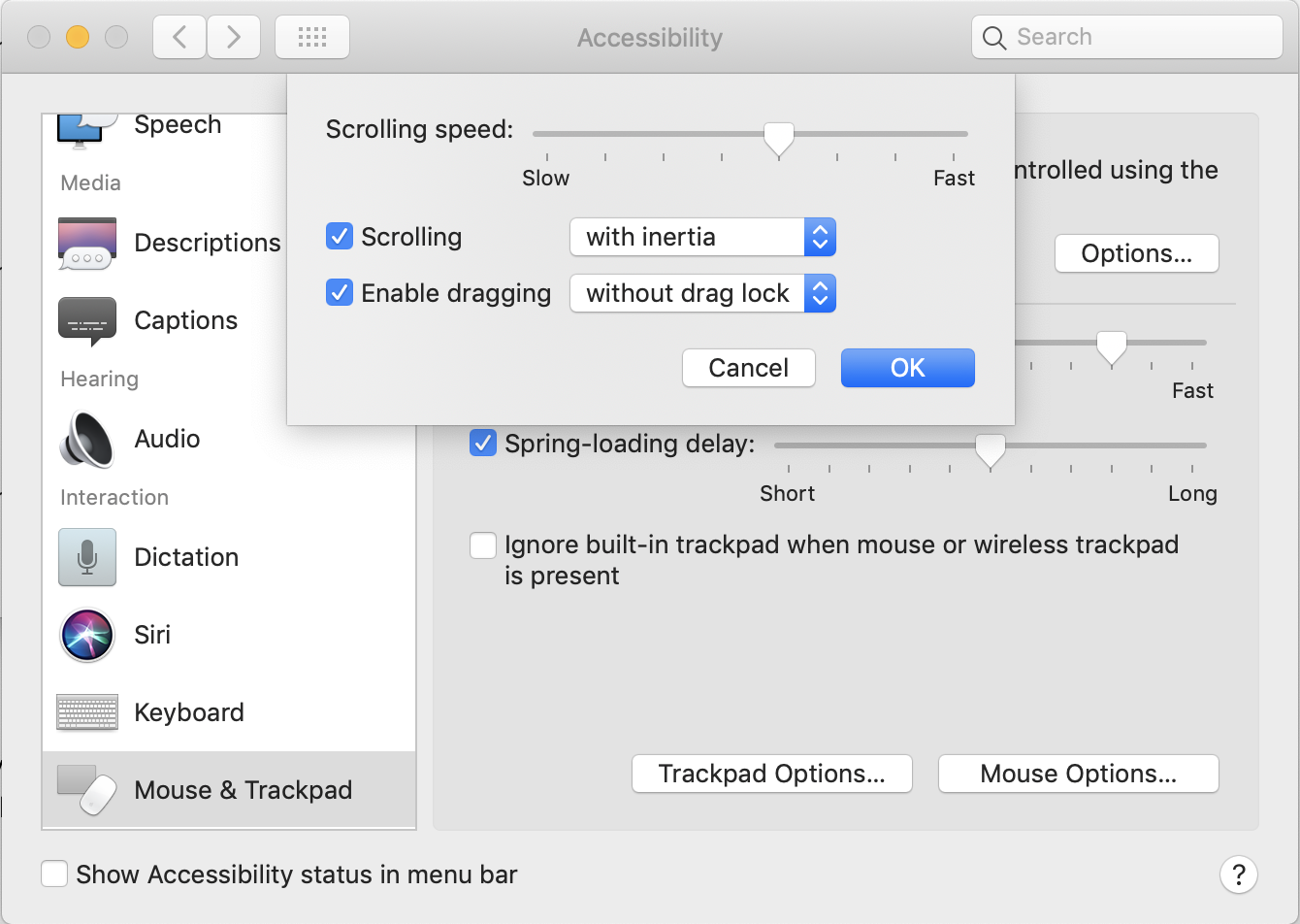 Configure Trackpad: Enable Dragging
